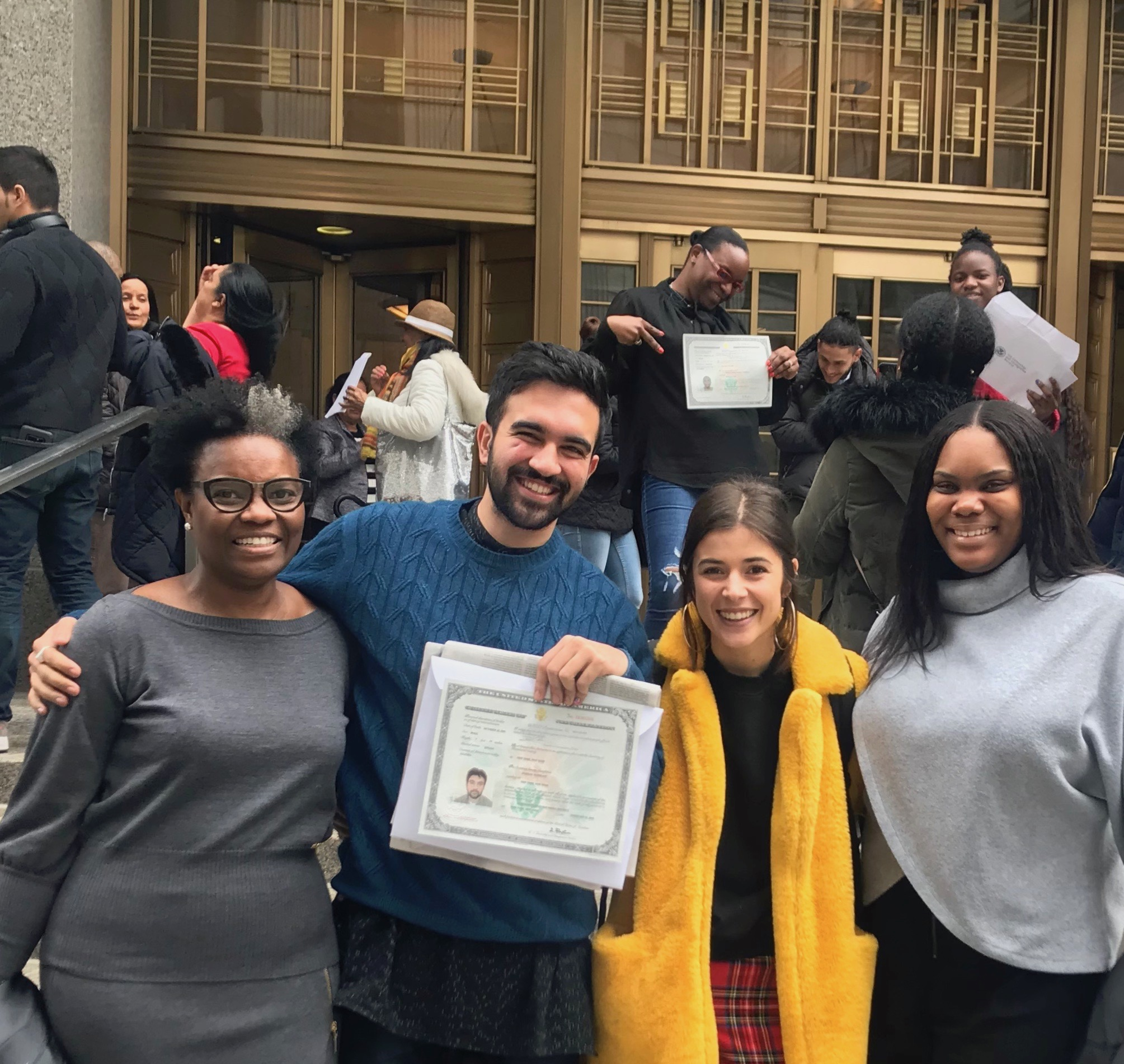 Image of Zohran celebrating reciving his citizenship with friends.